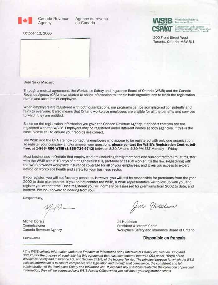 sample cover letter for wsib